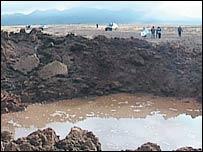 A recent meteor crater in Peru