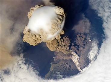 Volcano blast seen from space