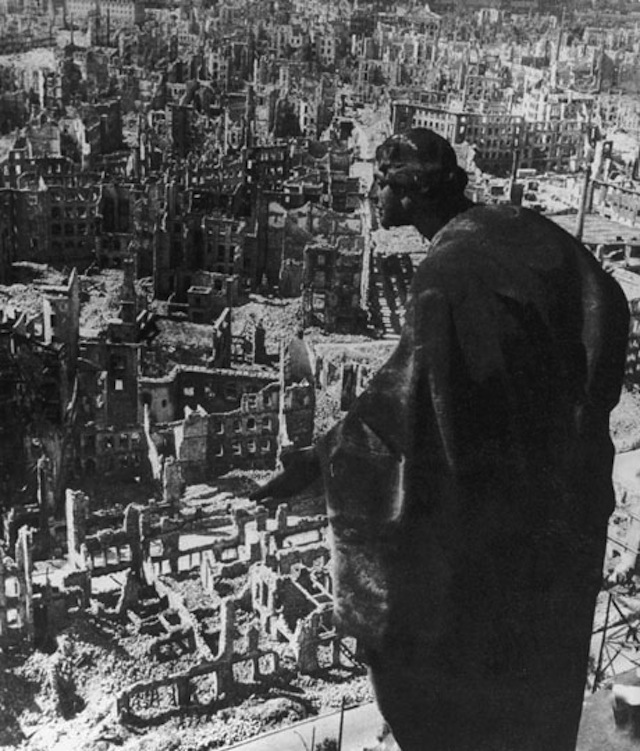 The view over Dresden from city hall following three days of Allied bombing in February 1945