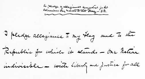 The Pledge of Allegiance written in the hand of its author, Francis Bellamy.