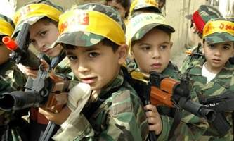 Palestinian children hold toy rifles, BBC