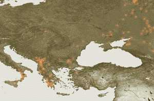 ESA satellite photo of 2007 fires in Greece and across Europe