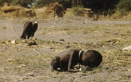 Kevin Carter photo, A baby barely alive and starving while stalked by a vulture
