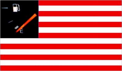 America, new flag, 'runnin' on empty'