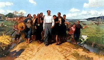 Chen Yanning's oil painting Chairman Mao Visit Guangdong Country