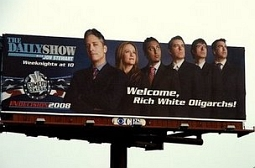 Jon Stewart, Welcome Rich Oligarchs billboard