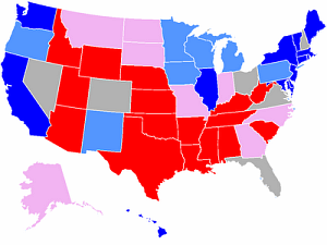 Presidential Forecast - Red Blue states after conventions
