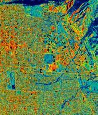 Urban heat island effect, Terra satellite