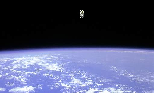 Astronaut free in space